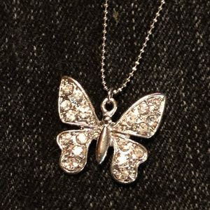 Crystal butterfly on long silver chain NEW